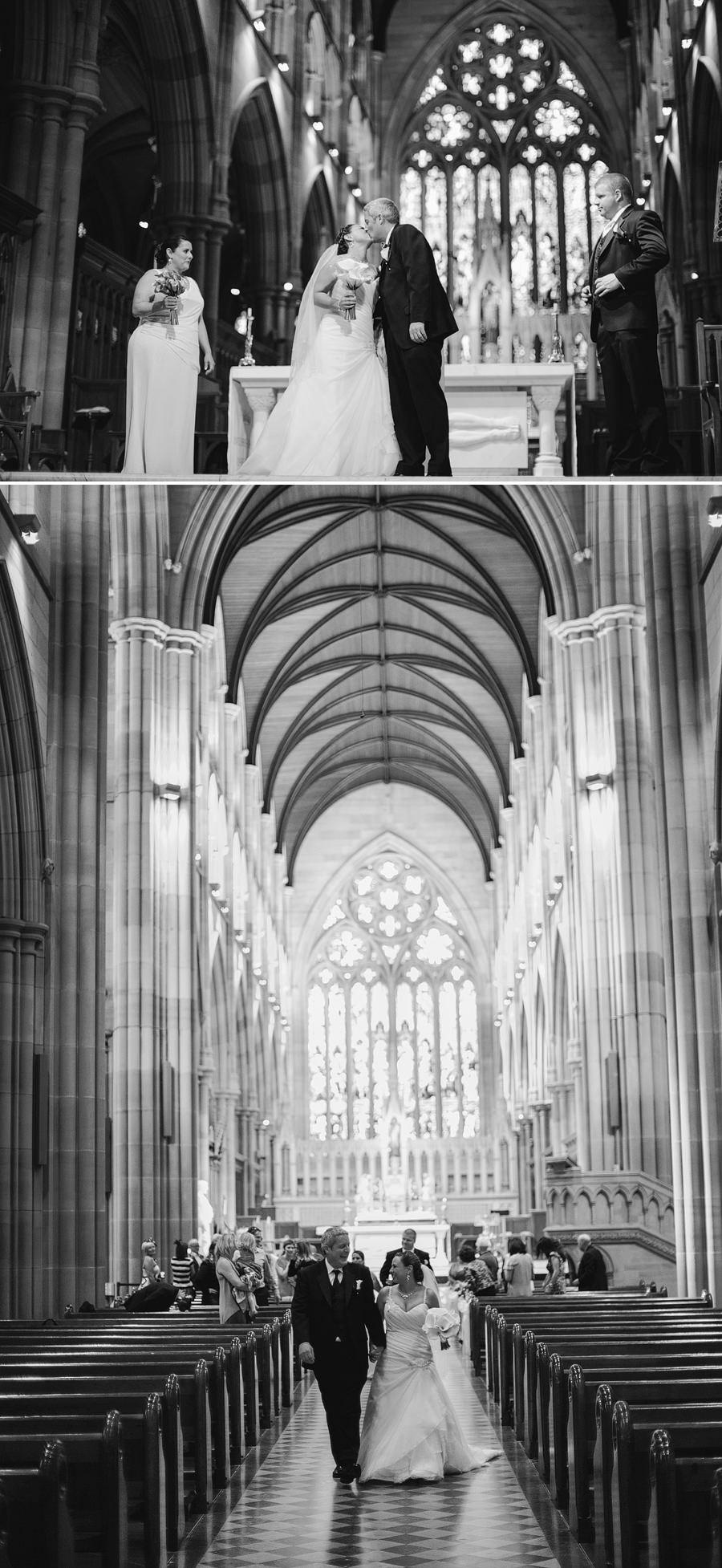 St Marys Wedding Photography: Bride & groom first kiss