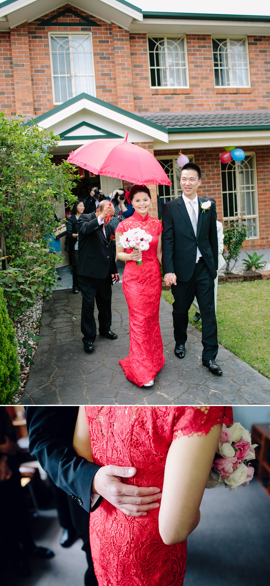 Sydney Chinese Wedding Photographers: Bride & Groom leaving brides house