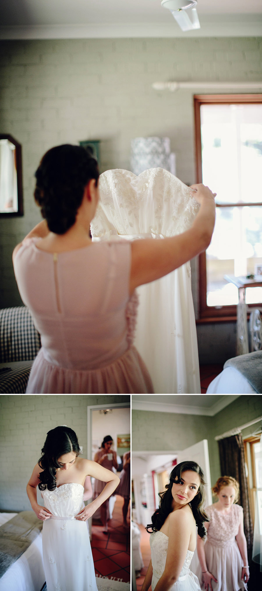 Thistle Hill Wedding Photographers: Bride getting dressed