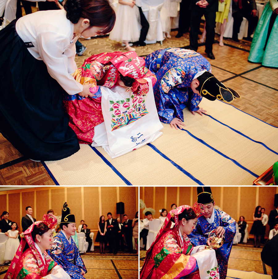 Korean Wedding Photography: Bride & Groom in traditional dress