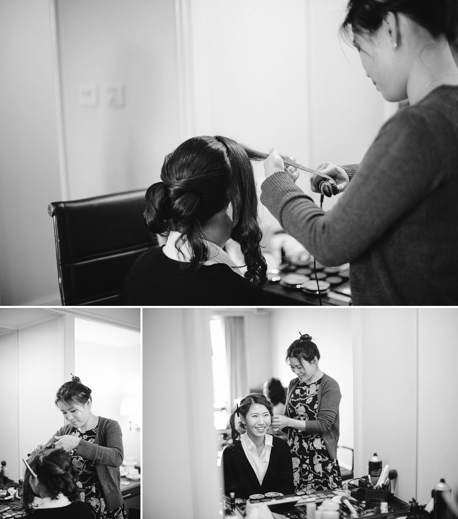 Shangrila Wedding Photography: Bride having hair done