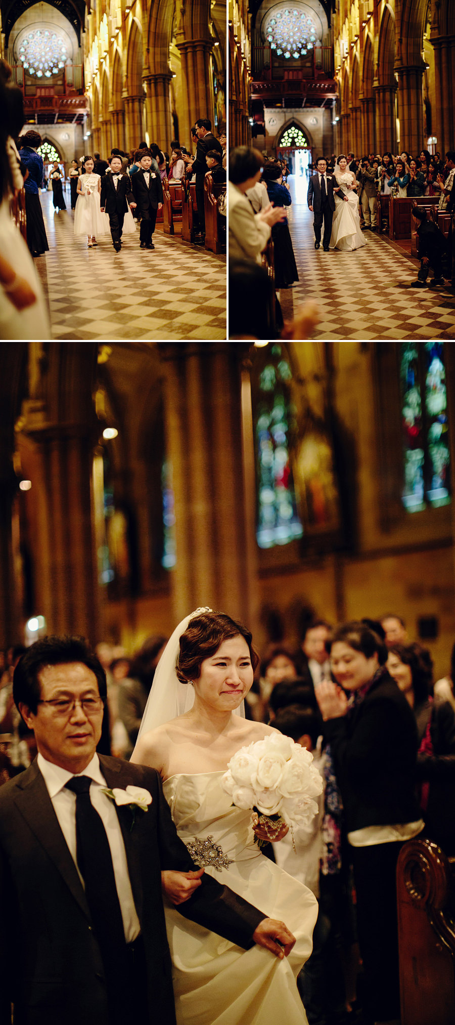 St Marys Cathedral Wedding Photographers: Bride walking down the aisle