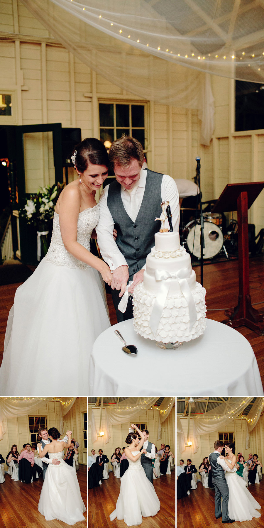 Contemporary Wedding Photographer: Cutting cake & first dance