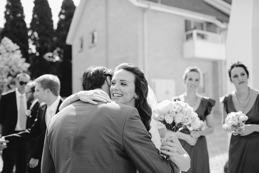 Double Bay Wedding Photography: Congratulatory hugs