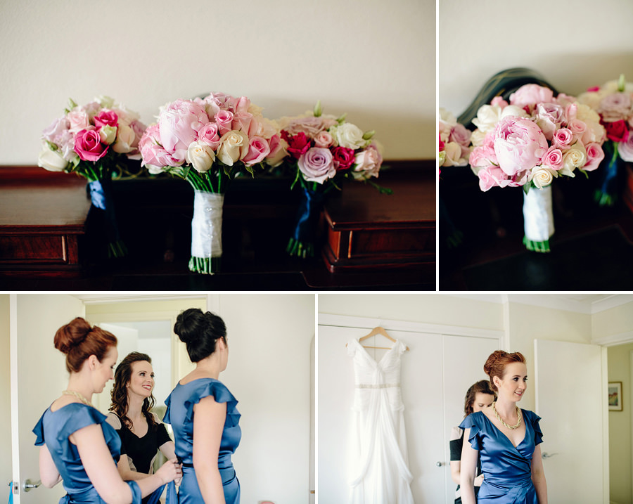 Eastern Suburbs Wedding Photography: Bouquets & Bridesmaids getting dressed