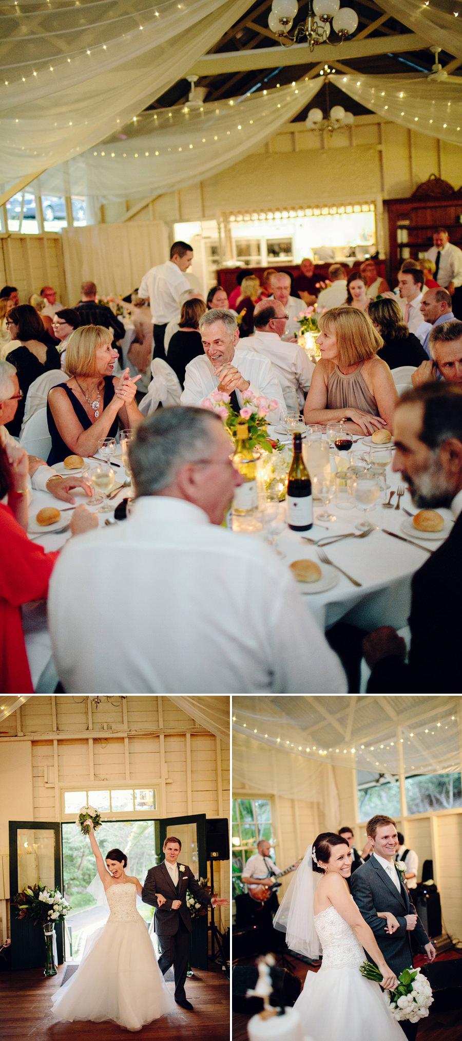 Modern Wedding Photographers: Bride & Groom entering reception