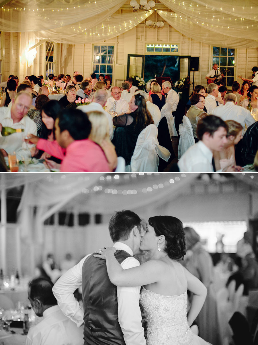 Modern Wedding Photography: Bride & Groom kiss during reception