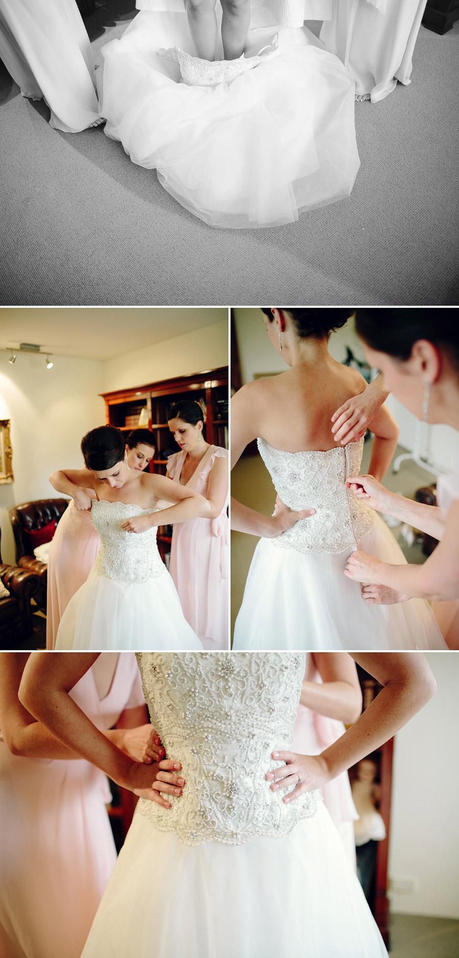Timeless Wedding Photography: Bridesmaids dressing bride