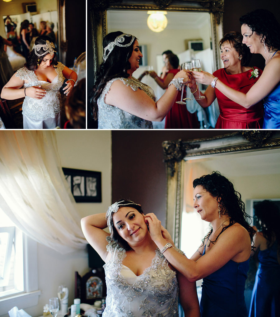Greek Wedding Photographers: Bride getting dressed