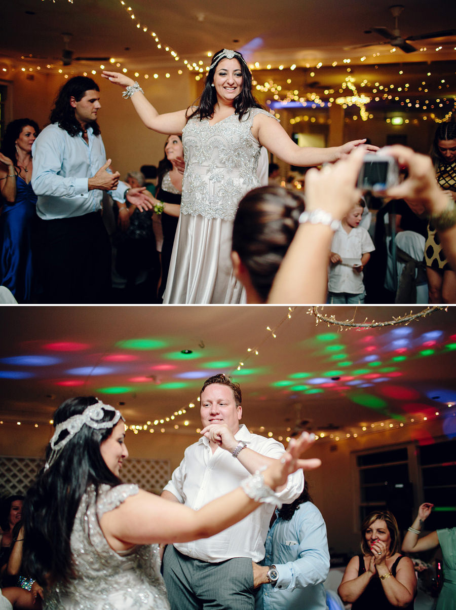 Fun Wedding Photographers: Bride & Groom dancing on chairs