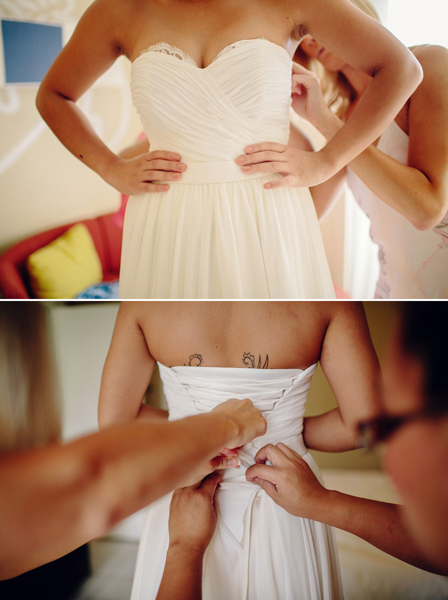 Contemporary Wedding Photographer: Bride getting dressed