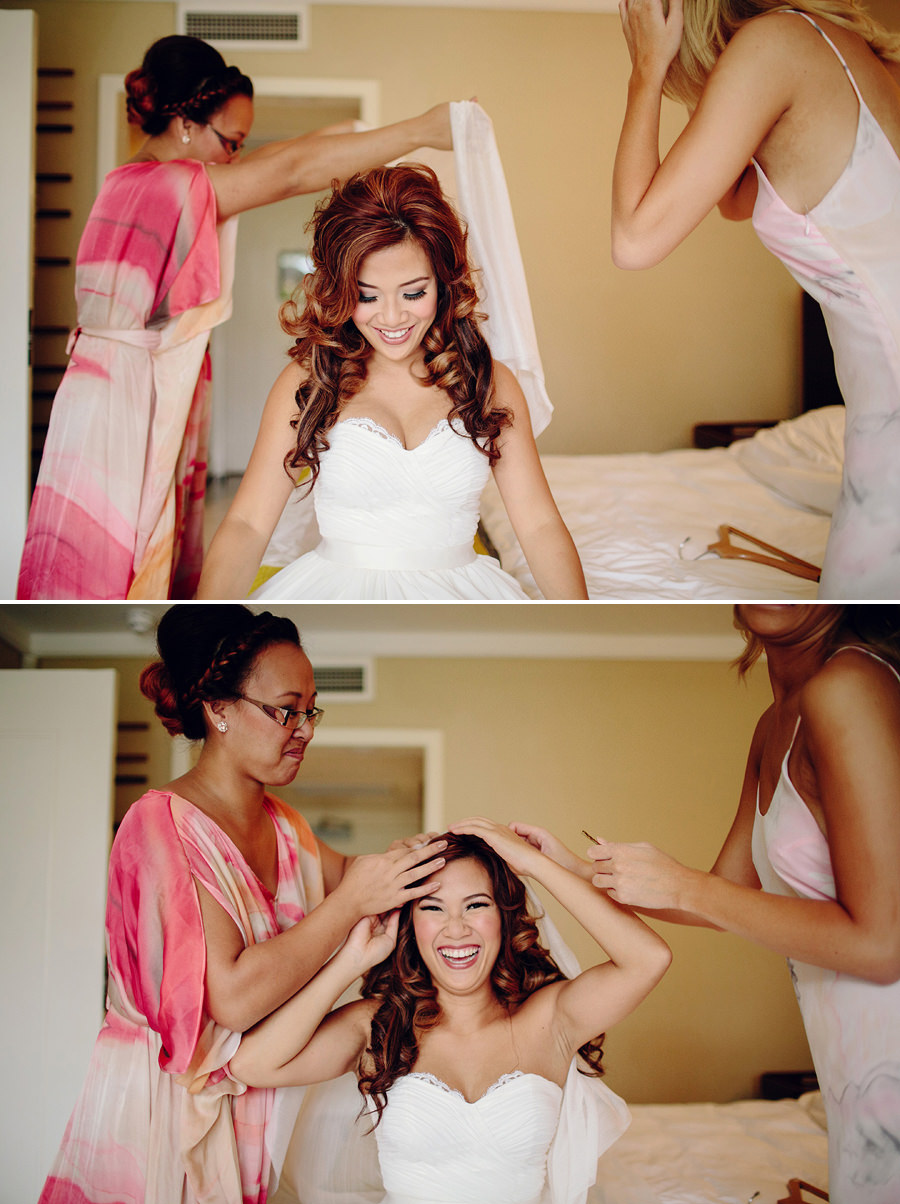 Filipino Wedding Photographers: Bride putting veil on