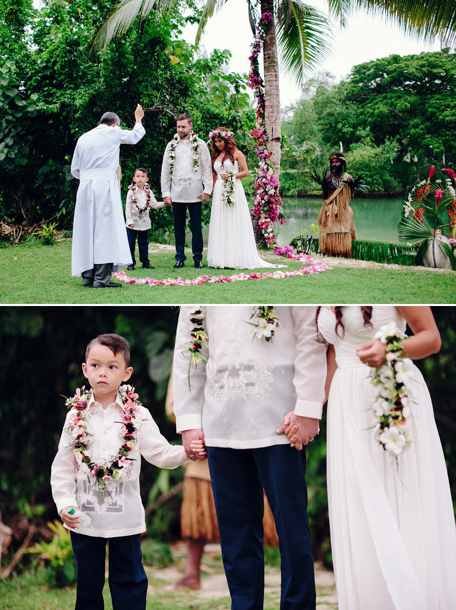 Holiday Inn Port Vila Wedding Photography: Couple's son as best man