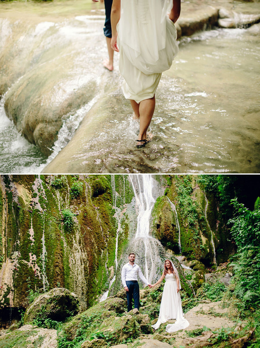 Mele Cascades Wedding Photographer: Bride and groom in waterfall