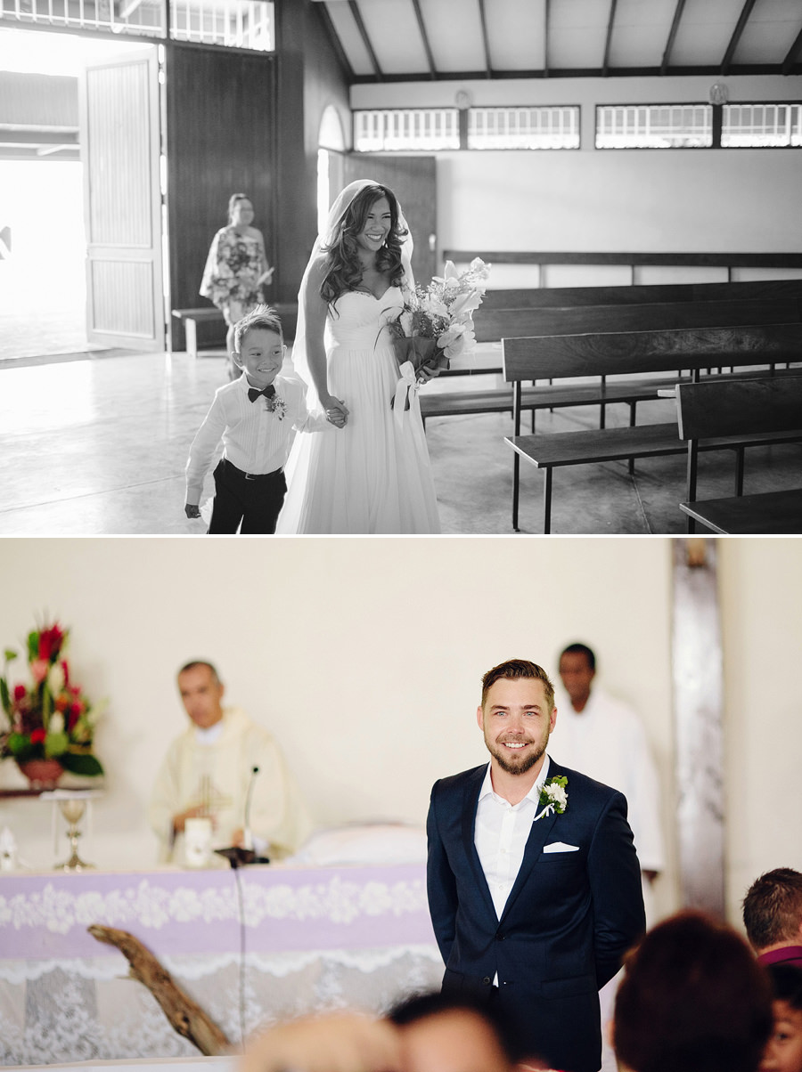 Port Vila Vanuatu Wedding Photographer: Bride walking down the aisle with son