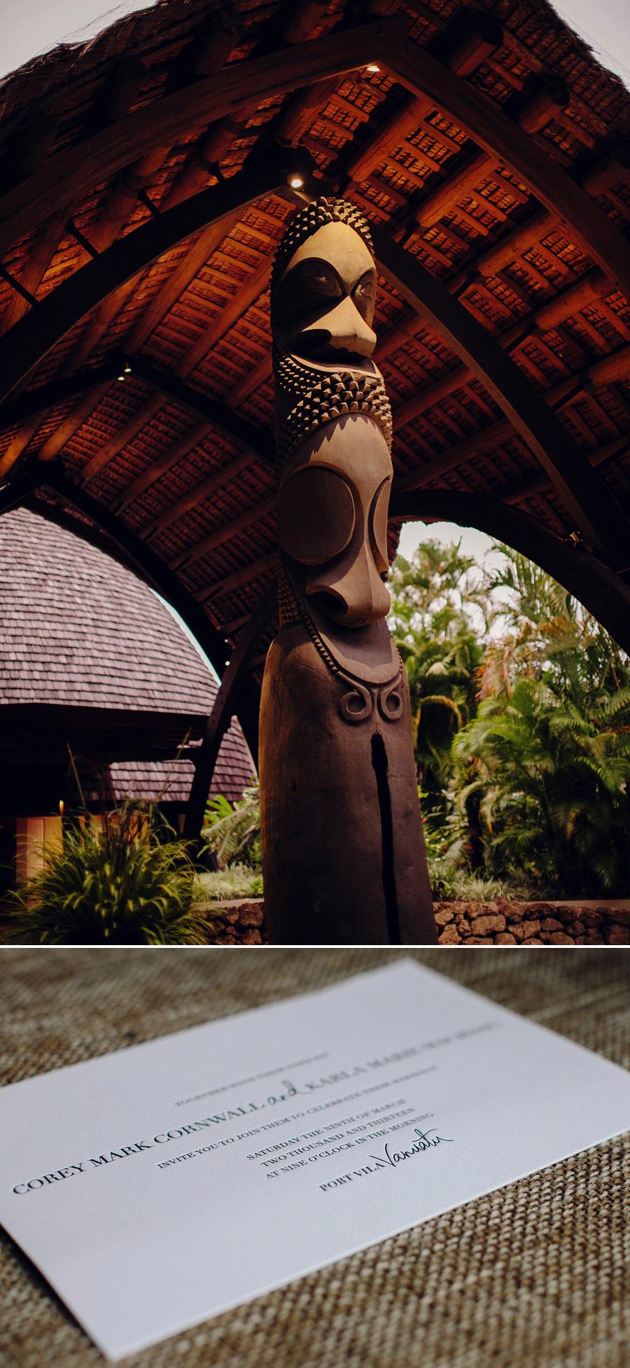 Vanuatu Wedding Photographer: Letterpress invitation