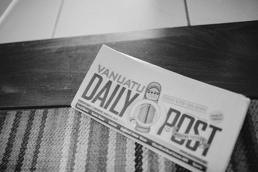 Vanuatu Wedding Photographers: Wedding day newspaper