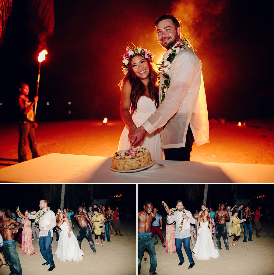 Wedding Photography in Port Vila: Fire blower cake cut