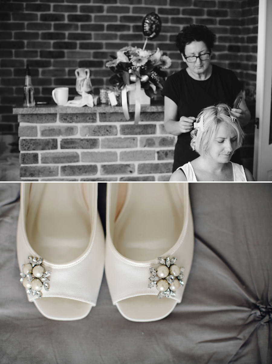 Alfords Point Wedding Photography: Bride having hair done