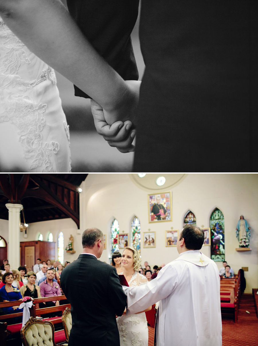 Catholic Wedding Photography: Bride & Groom during ceremony