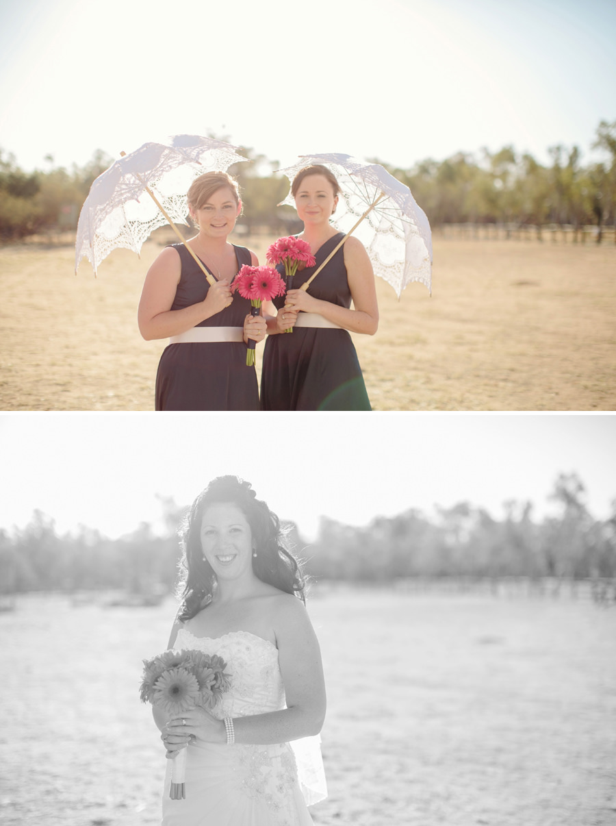 Alice Springs Telegraph Station Wedding Photography: Bride & bridesmaids