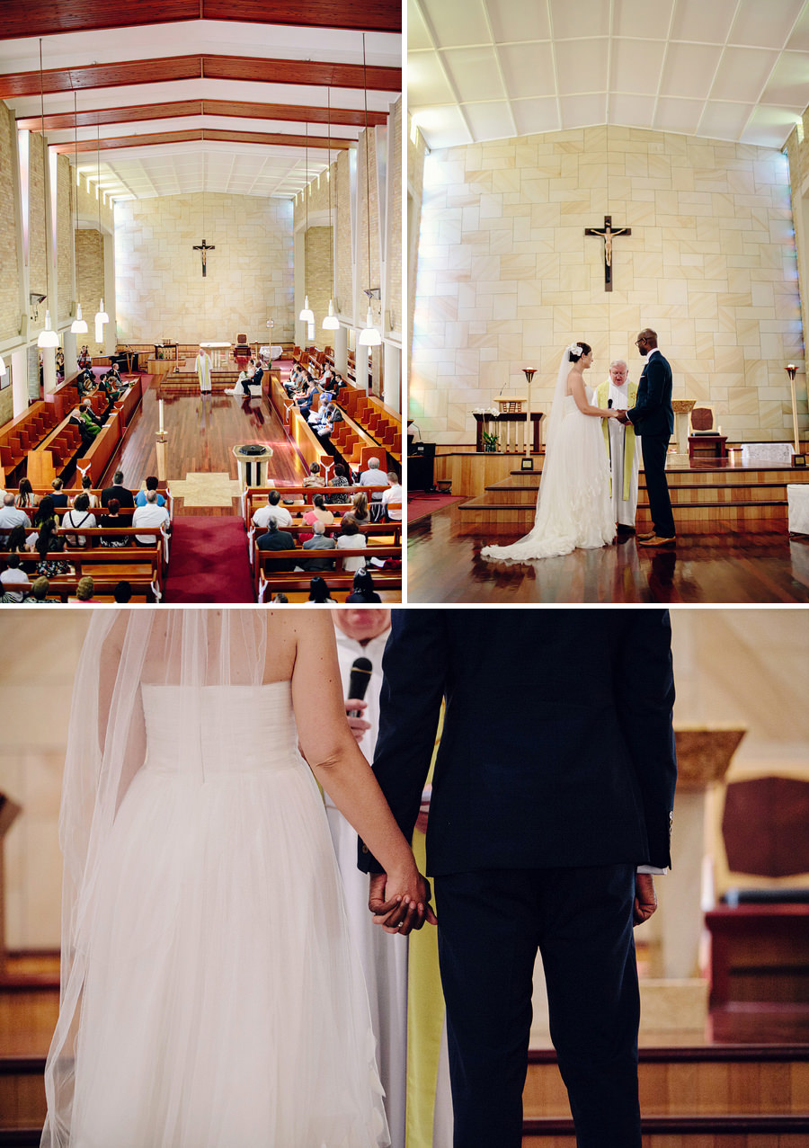 Catholic Wedding Photography: Bride & Groom holding hands during ceremony