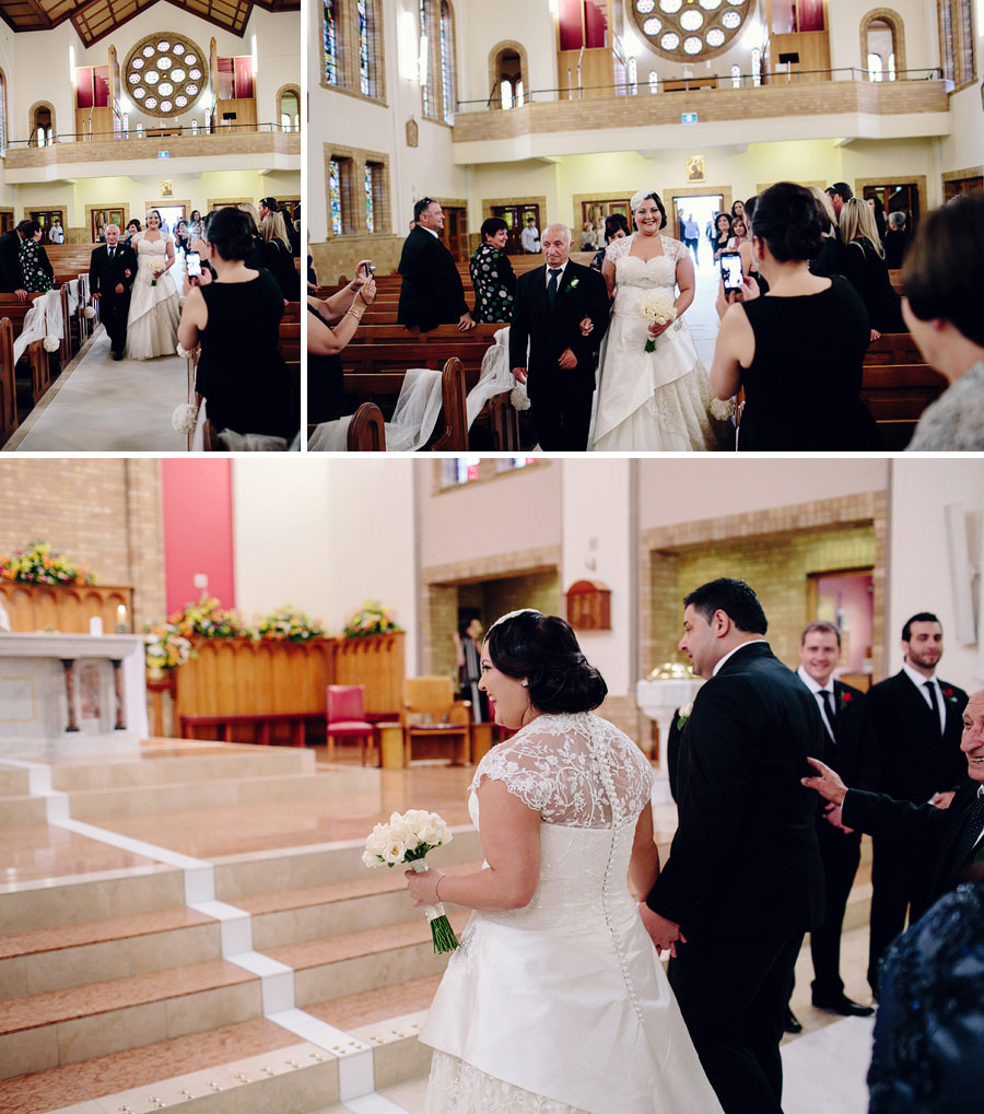 Melkite Catholic Wedding Photographer: Bride walking down the aisle