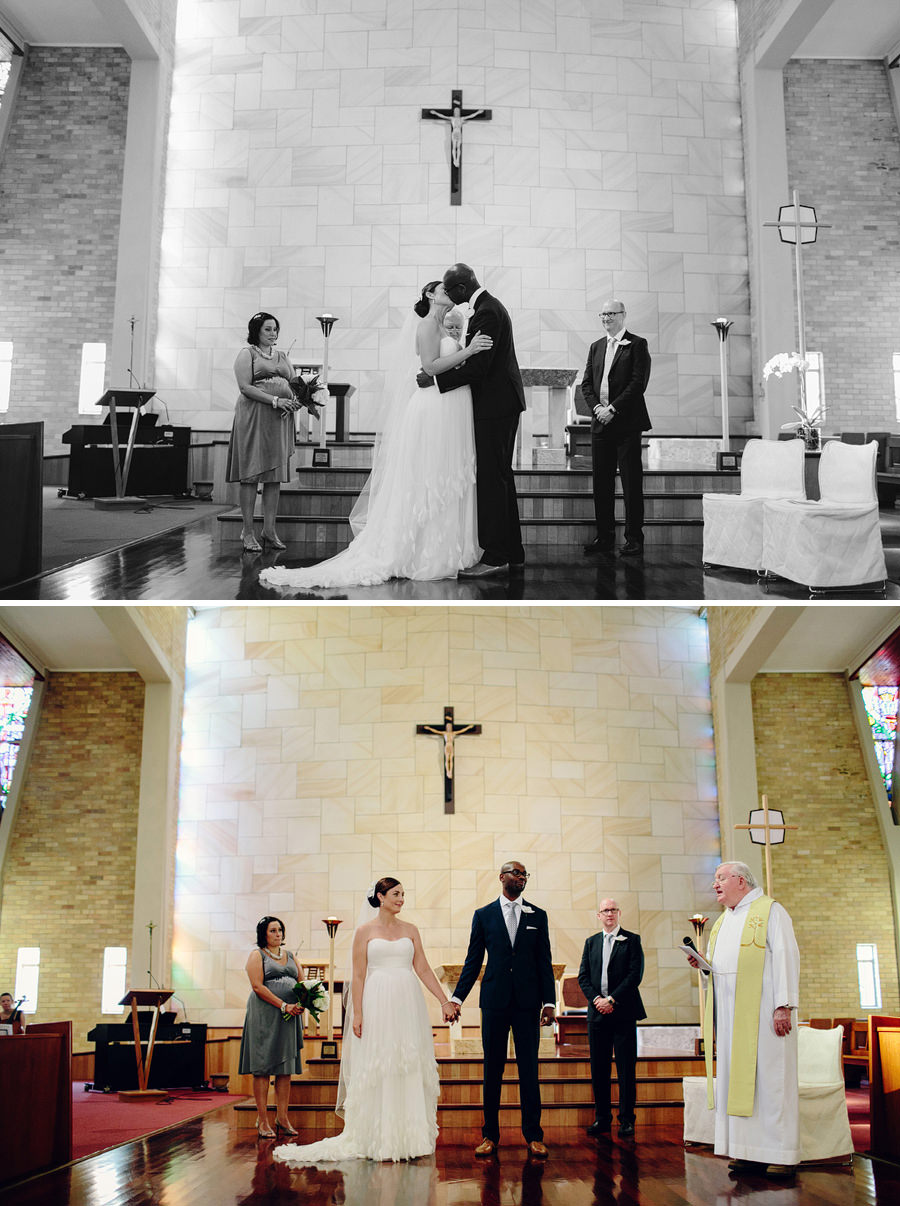 Sydney Catholic Wedding Photographers: First kiss