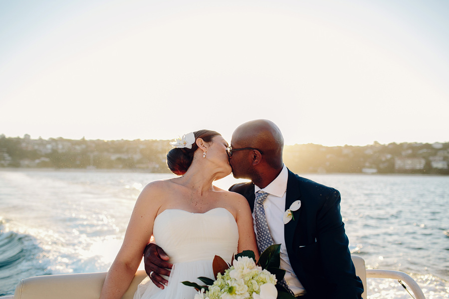 Sydney Harbour Wedding Photographers: Sunset kiss