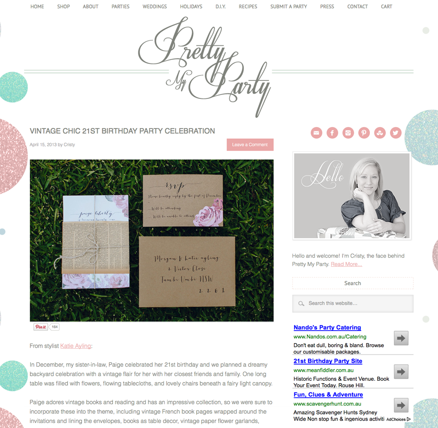 Featured on Pretty My Party