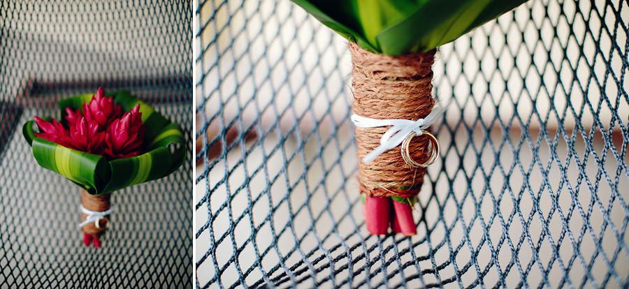 Fijian Wedding Photographers: Red ginger bouquet