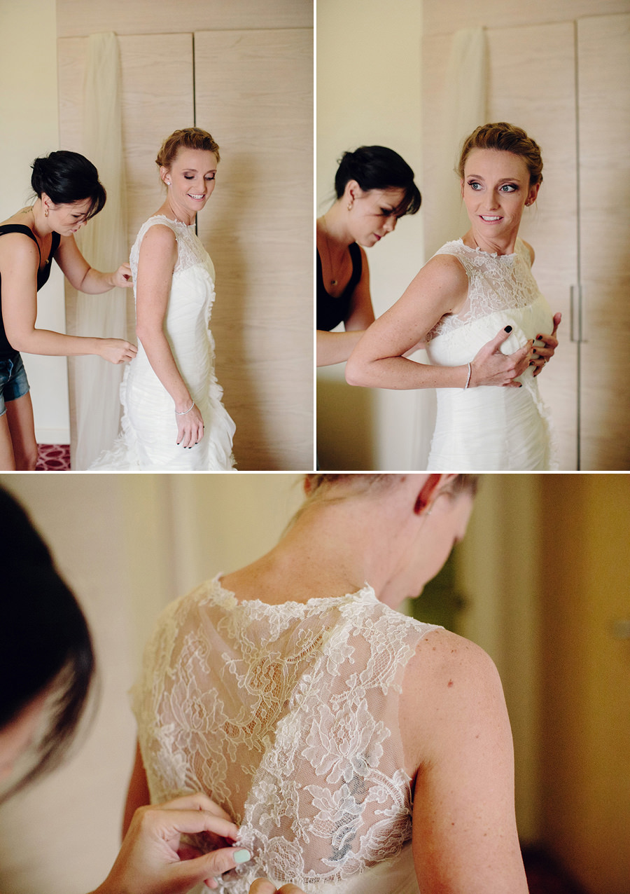 Lasseters Alice Springs Wedding Photography: Bride getting dressed