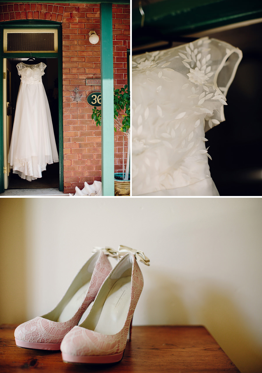 Roseville Wedding Photographer: Bride's dress & shoes