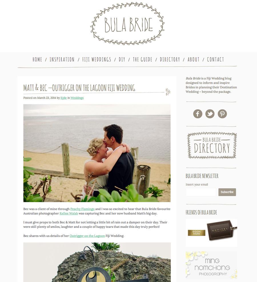 Bula Bride Outrigger Wedding Feature