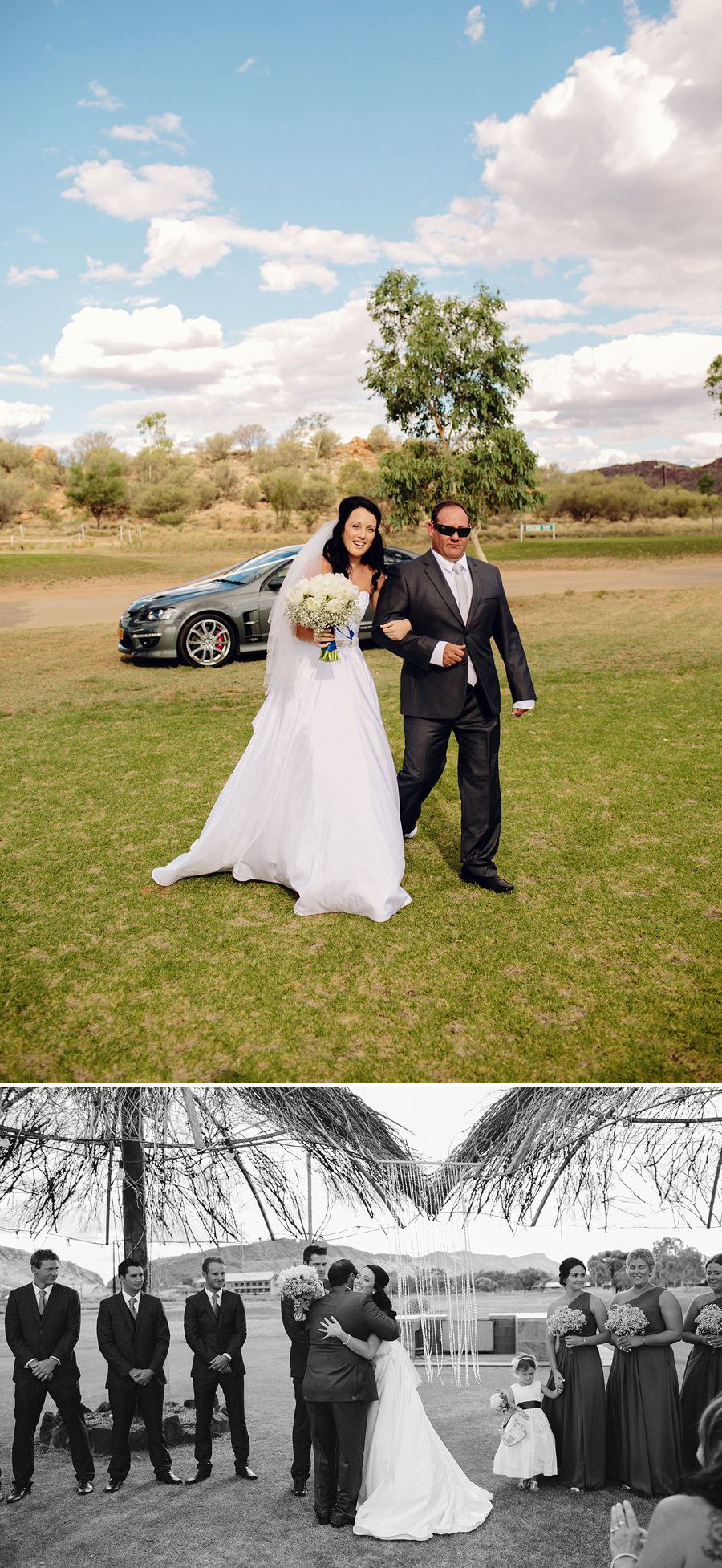 Alice Springs Golf Club Wedding Photographers - Bride walking down the aisle