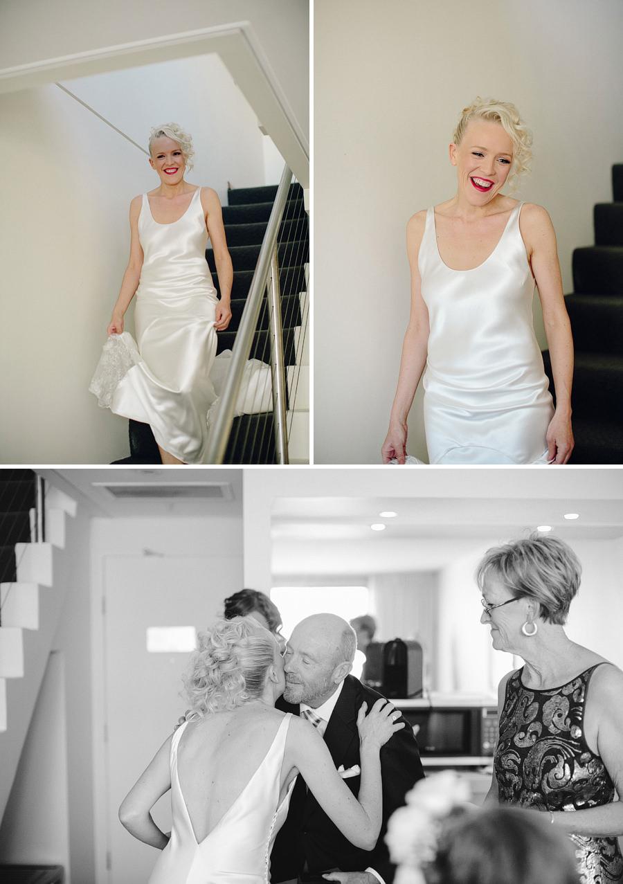 Modern Wedding Photographer: Bride greeting family