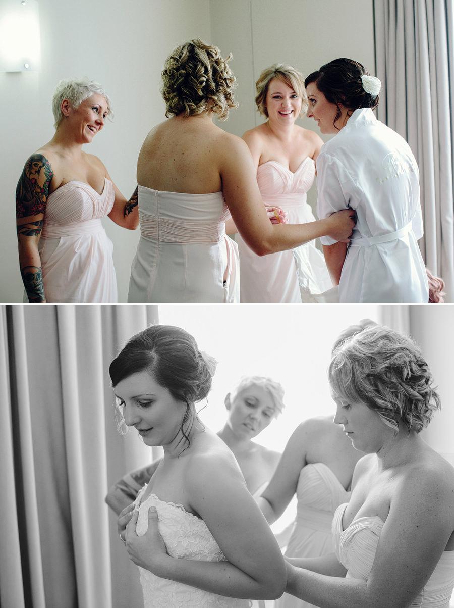 Rydges North Sydney Wedding Photography: Bride getting dressed