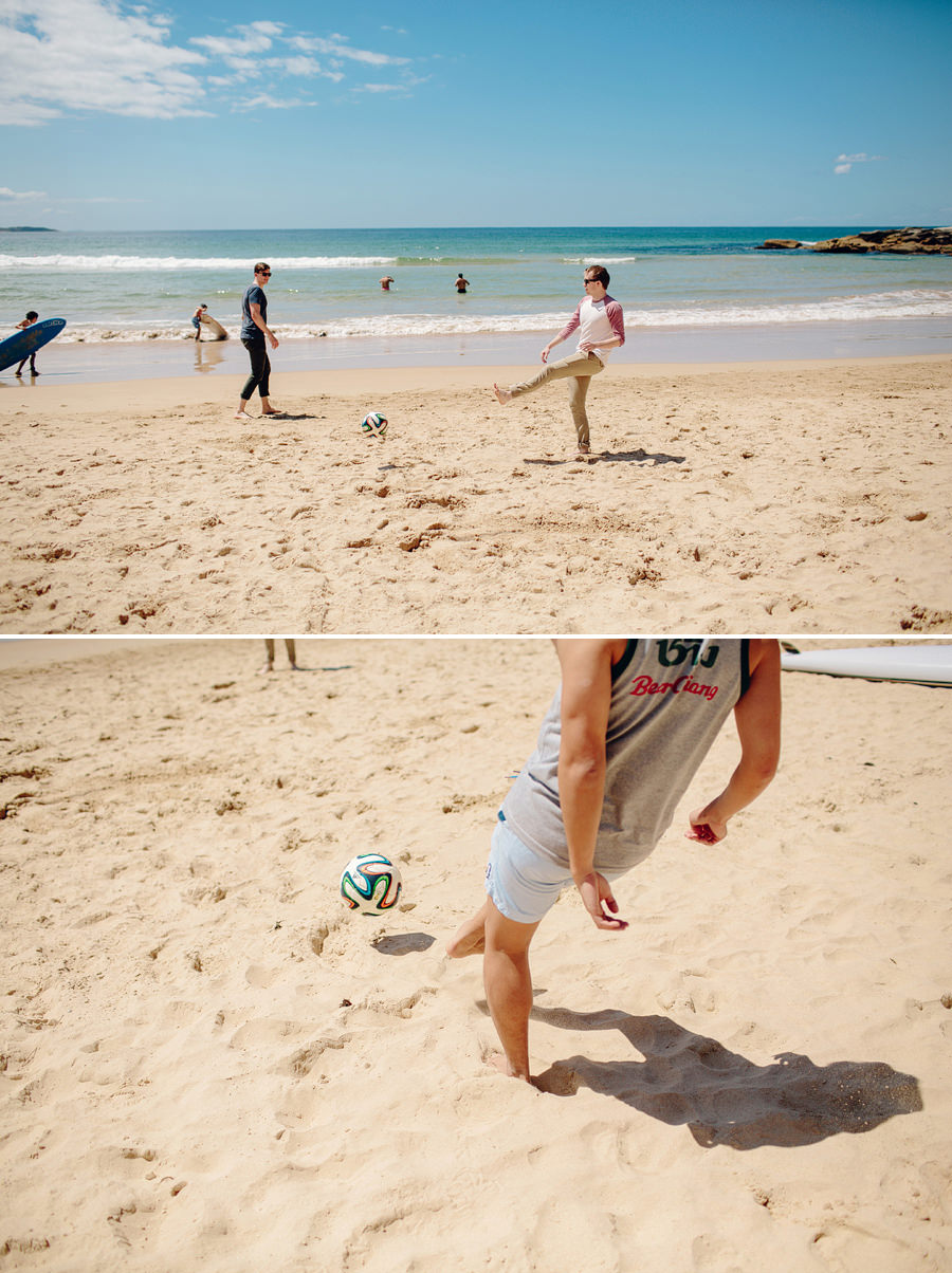 Manly Wedding Photographers: Groom playing soccer