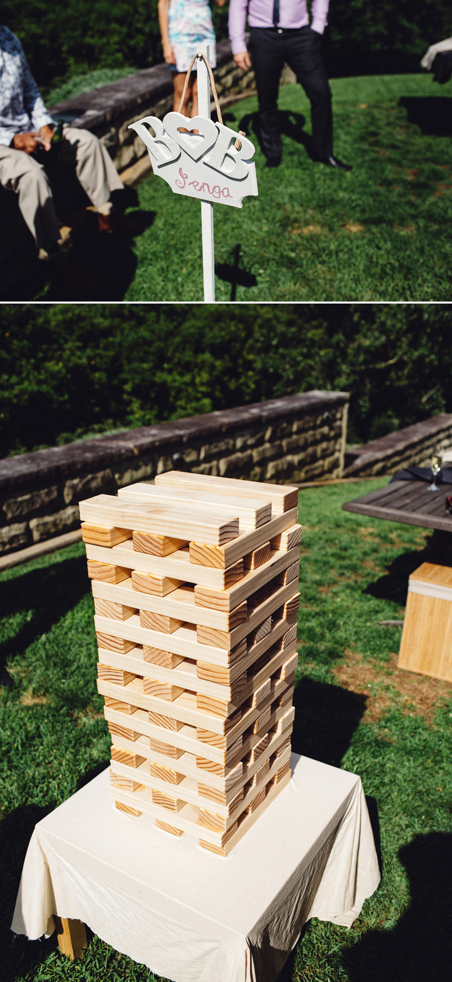 Lawn Games Wedding Photographer: Ceremony: Giant Jenga